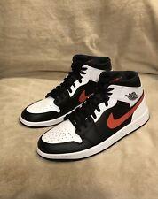 Air Jordan 1 Mid 'White Black Chile Red' Men's 13 (554724-075) BRAND NEW