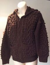 """hand knitted chocolate brown thick Aran zippered hoodie cardigan ~XS - 34"""" chest"""