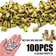 100pcs M4 M5 M6 M8 Mixed Zinc Plated Carbon Steel Rivet Nut Threaded Insert