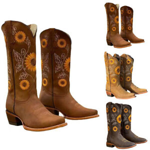 Western Cowboy Women Embroidered Low-Block Chunky Heel Boots Mid Calf Shoes AU