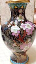 Vintage Chinese Brass Cloisonne 15cm high Vase- In original Box - Post free Aust
