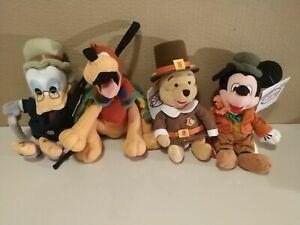 The Disney Store Vintage New Beanbag Plush Holiday Lot Winnie Mickey Donald Duck