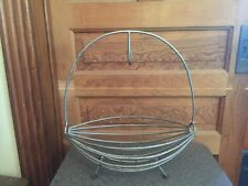 Antique Primitive Large Wrought Iron Fruit Basket With Double Banana Hook