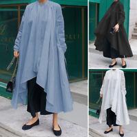 Oversize Femme Petit Col Montant Asymétrique Manche Longue Chemise Robe Simple