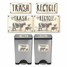 Vintage Farmhouse Styled | Cow Pig Rooster | Trash and Recycle Label Stickers