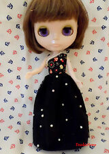 Blythe Doll Outfit mushroom Pattern Pearl Lace Party Dress Evening Long Dress