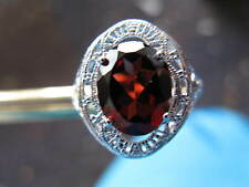 2.80ct FLAWLESS GARNET RING with HAND CARVED FILIGREE, ART DECO, ESTATE, VINTAGE