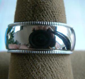 8mm Titanium polished milgrain wedding band, ring, size 6 - BRAND NEW