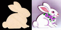 "Rabbit Bunny Shape 4"" Natural Craft Wood Cutout #500-4"