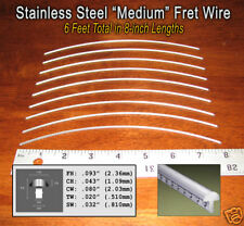 6ft Jescar STAINLESS STEEL Medium Frets/Fret Wire for Guitars & More!