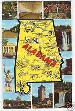 Alabama Postcard - Map & State Views Linen