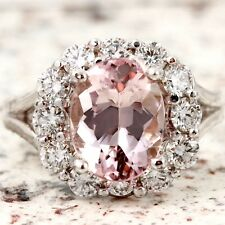 3.70 Carats Natural Morganite and Diamond 14K Solid White Gold Ring