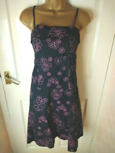 H+M Size 8 Black Floral Print Strappy dress Summer Party Holiday Cruise