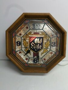 "Vintage ""OLD STYLE BEER"" STAINED GLASS LIGHTED WALL CLOCK"