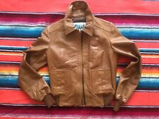 RIPPLES BROWN LEATHER MOTO BUMBER PILOT BIKER JACKET MADE IN USA Sz S