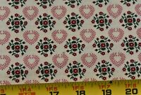 By 1/2 Yd, Vintage, Red Flowers Pink Hearts on Cream Quilt Cotton, Springs,P2863