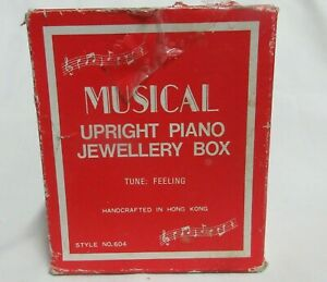 VTG MUSIC BOX - CLEAR PLASTIC UPRIGHT  PIANO JEWELLERY BOX W/BOX