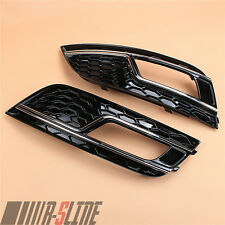 Fit AUDI A4 B8 13-15 Front Bumper Lower Foglight Grille Mesh Grill L+R RS4 Style