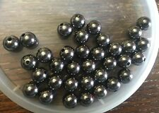 Vintage Japan Hematite Black Silver Mirror Round Lucite Bead Lot
