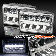 4X6 H4651/H4652/H4656/H4666 50W LED SEALED BEAM CHROME CRYSTAL HEADLIGHTS PAIR