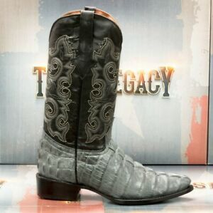 Mens Western Boots Crocodile Tail Pattern Leather Cowboy Rodeo J Toe Botas