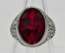 MEN RING RUBY STAINLESS STEEL SILVER SOLITAIRE CARVED POPE BISHOP BIKER SZ 7.75