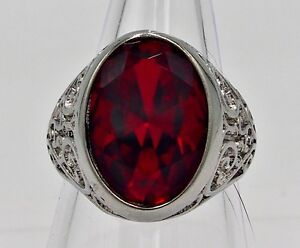MEN RING RED RUBY STAINLESS STEEL SILVER SOLITAIRE POPE BISHOP BIKER HUGE SIZE 8