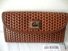 Dooney & Bourke Camden Woven Leather CONTINENTAL Wallet Chestnut