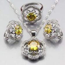 Crystal Yellow Stone Women Weddin Set 925 Sterling Silver Semi Precious Cz