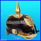 Prussian Leather Helmet Deluxe German Officer Pickelhaube Helmet WWI Hat ALN41