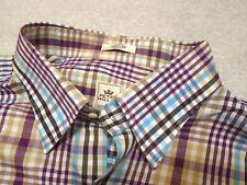 Peter Millar 100% Cotton Plaid Vespa Collar Sport Shirt NWOT Large $125