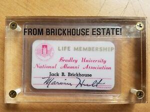 JACK BRICKHOUSE ESTATE : BRADLEY ALUMNI CARD in THICK holder ; Chicago Cubs