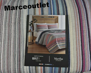 Martha Stewart Rustic Yarn Dye 100% Cotton Reversible FULL / QUEEN Quilt