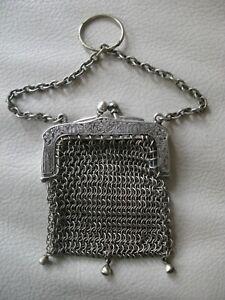 Antique Silver Floral Frame Finger Ring 3 Ball Tassel Mesh Chatelaine Coin Purse