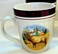 Cabela's Folkcraft Stoneware- BUGLING ELK - Scotty Z LARGE Mug / Cup
