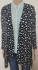 Ladies Size 14 Black Waterfall Cardigan white Hearts Womens Long Sleeve Jacket