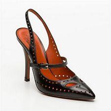 SANTONI Made in Italy chic sling back pumps scarpe donna nere 39 tacco 12 BNIB