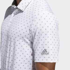 NEW Adidas mens Large Ultimate365 Badge of Sport Logo Polo Golf Shirt White Gray
