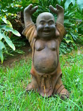 YOUNG HANDS UP BUDDHA HAPPY HOTEI CONCRETE CEMENT STATUE BROWN PATINA STAIN