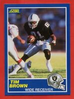 1989 Score  #86 Tim Brown NEAR MINT/MINT+ Los Angeles Raiders ROOKIE RC FREE S/H