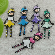 free ship 52 pieces alloy enamel mixed colors girl charms pendant 61x26mm #4494