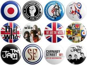 12 x Mod - Various Designs - BUTTON PIN BADGES 25mm 1 INCH | Jam Who Paul Weller