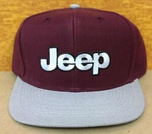 Vintage JEEP Adjustable Snapback Cap Hat Wool blend Two Tone Maroon/Gray New