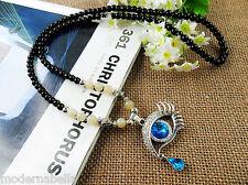 Occhio dell Angelo stupenda Collana in perle ,cristallo Vero celeste,protezione