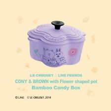 HK 7-11 LINE FRIENDS X LE CREUSET CONY BROWN Flower Shaped Pot Bamboo Candy Box