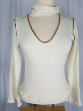Buffalo David Bitton Women's Large Ivory Cowl Neck Lace Inset Career Casual Top