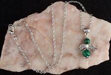 Malachite Guardian Angel Pendant,Tibetan Silver Chain Necklace.Handmade
