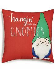 Holiday Lane Hangin' with My Gnomies Pillow Red 18� x 18� Christmas Nwt