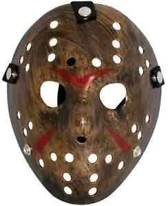 Horror Halloween Maske Jason Eishockeymaske braun