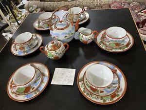 6 Pers siatisches Teeservice Japan  22 tlg Handbemalt Asia Kunsthandwerk Servic